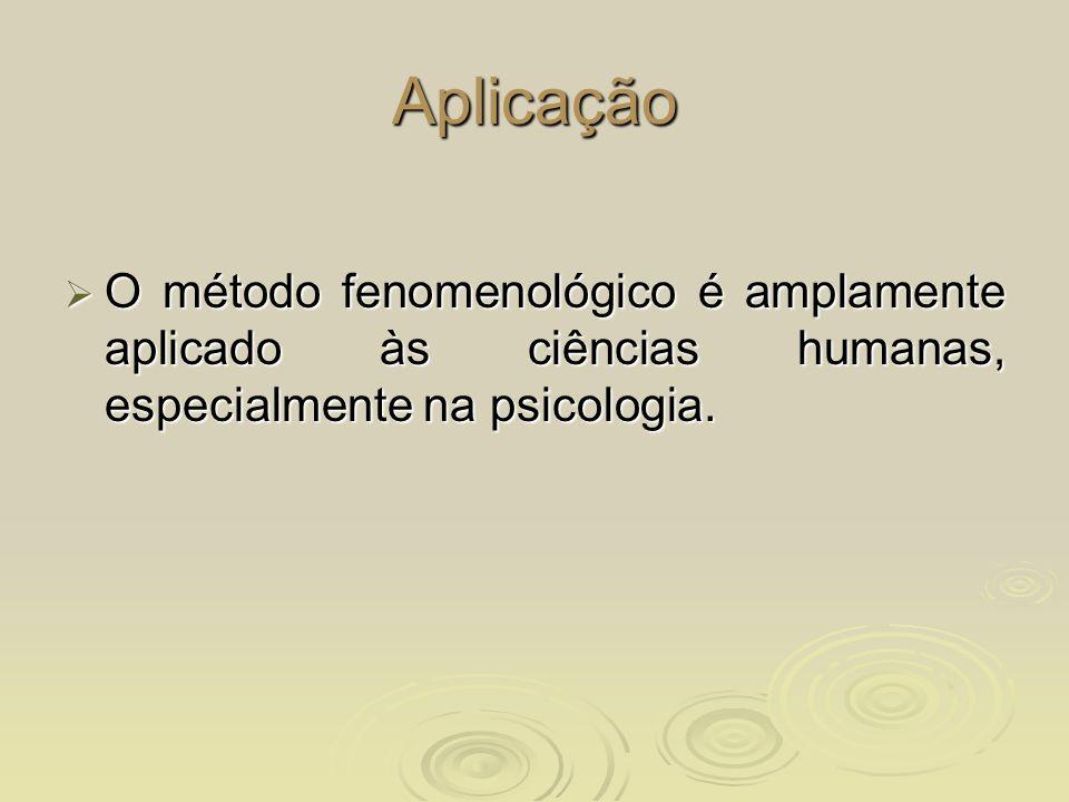AplicaçãoO método fenomenológico é amplamente aplicado às ciências humanas, especialmente na psicologia.