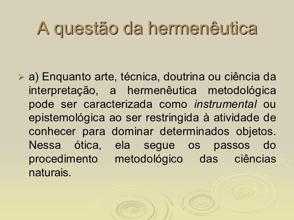 A questão da hermenêutica