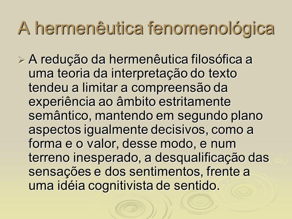 A hermenêutica fenomenológica