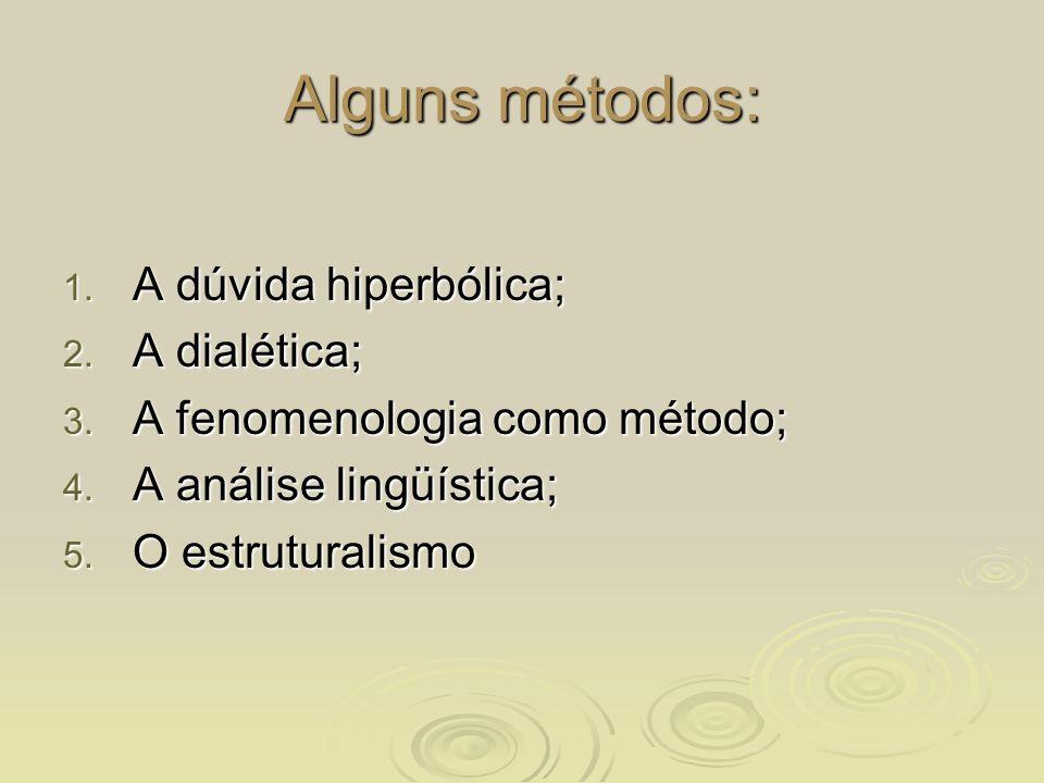 Alguns métodos: A dúvida hiperbólica; A dialética;