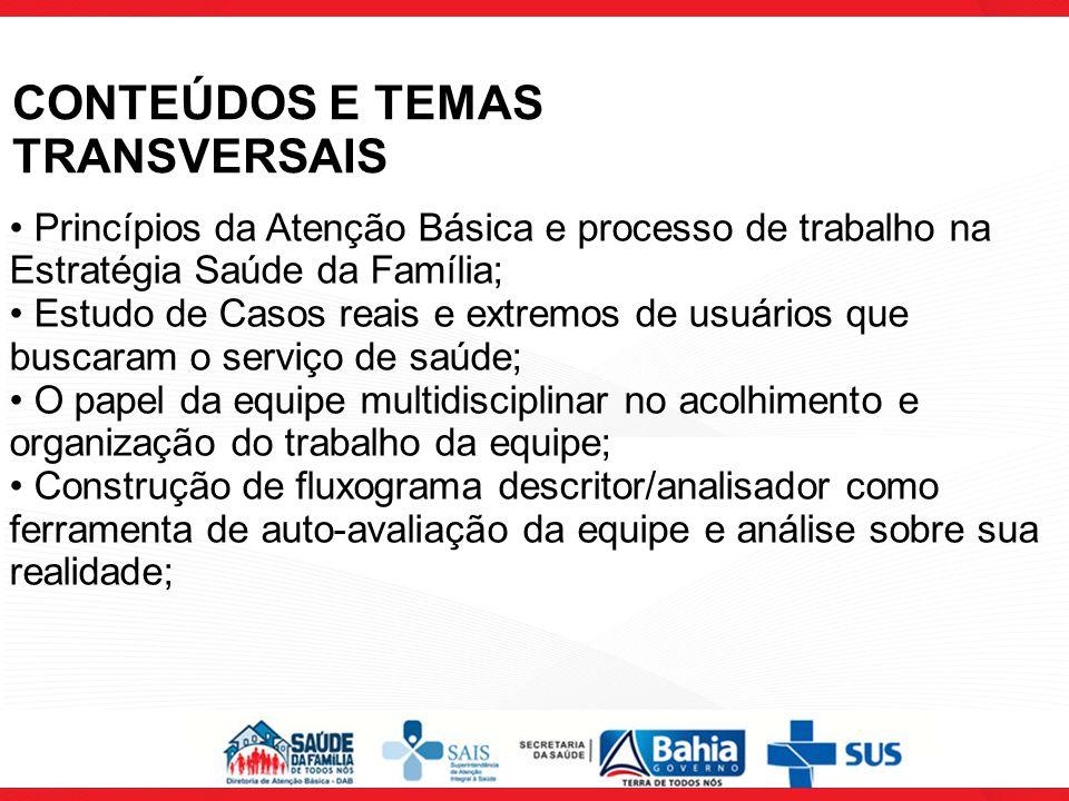 CONTEÚDOS E TEMAS TRANSVERSAIS