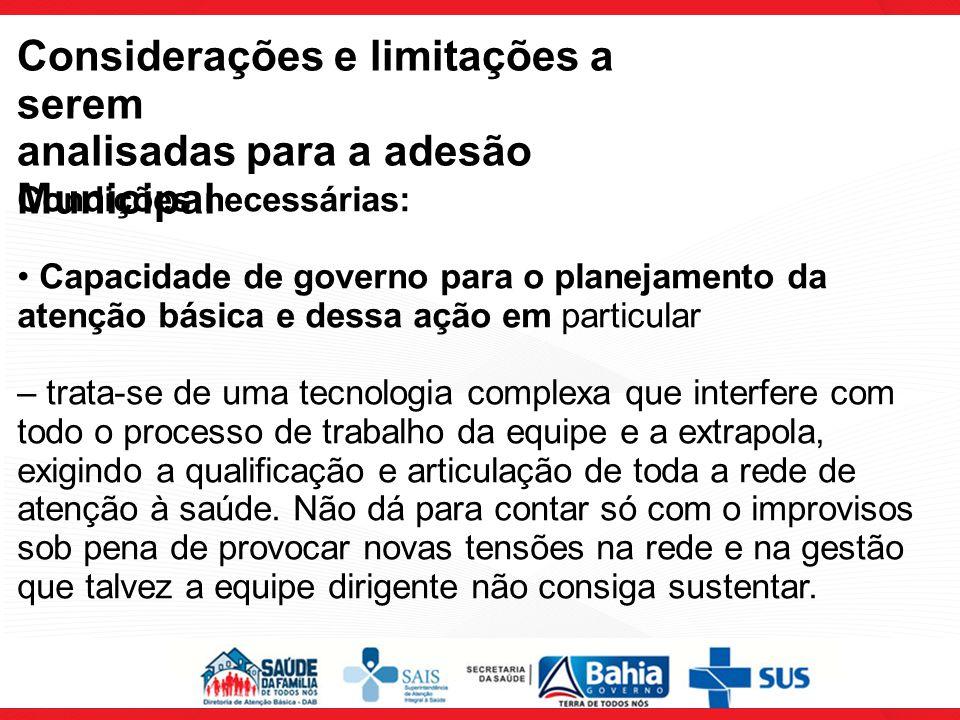 Considerações e limitações a serem analisadas para a adesão Municipal