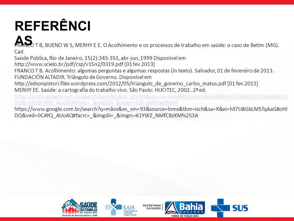 REFERÊNCIAS FRANCO T B, BUENO W S, MERHY E E. O Acolhimento e os processos de trabalho em saúde: o caso de Betim (MG). Cad.