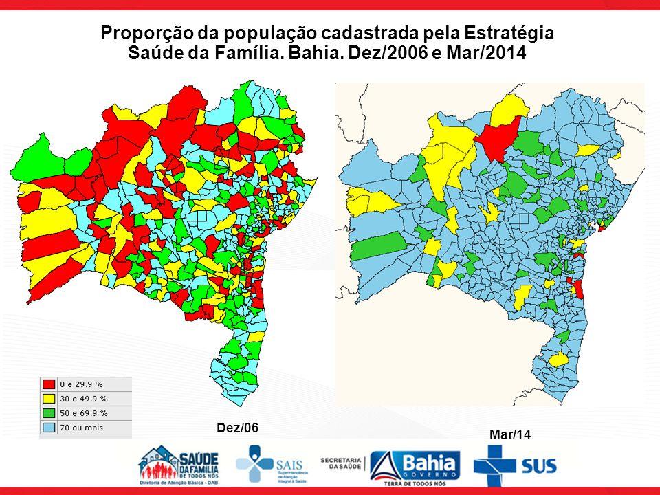Proporção da população cadastrada pela Estratégia Saúde da Família