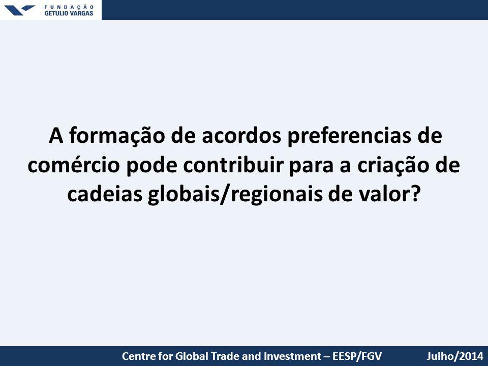 A formação de acordos preferencias de comércio pode contribuir para a criação de cadeias globais/regionais de valor