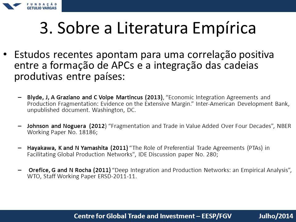 3. Sobre a Literatura Empírica
