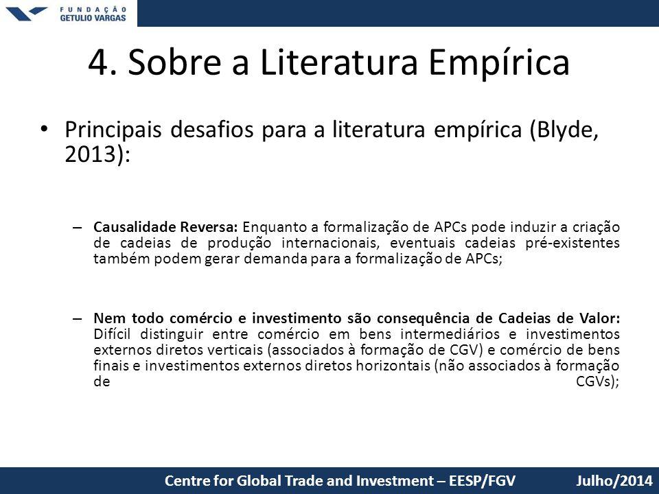 4. Sobre a Literatura Empírica