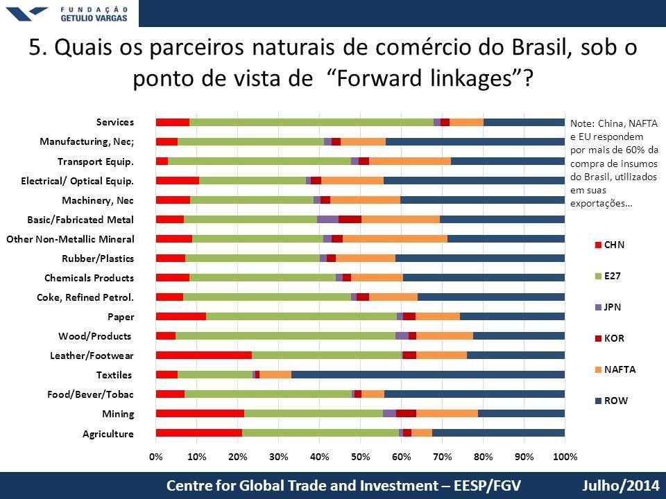 5. Quais os parceiros naturais de comércio do Brasil, sob o ponto de vista de Forward linkages