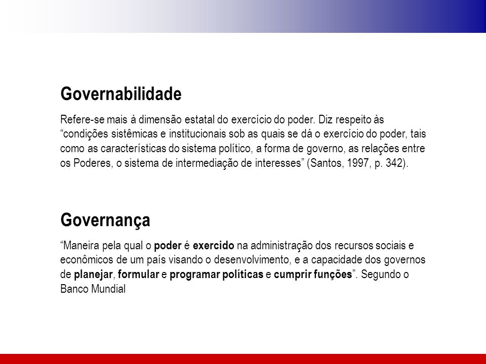 Governabilidade Governança