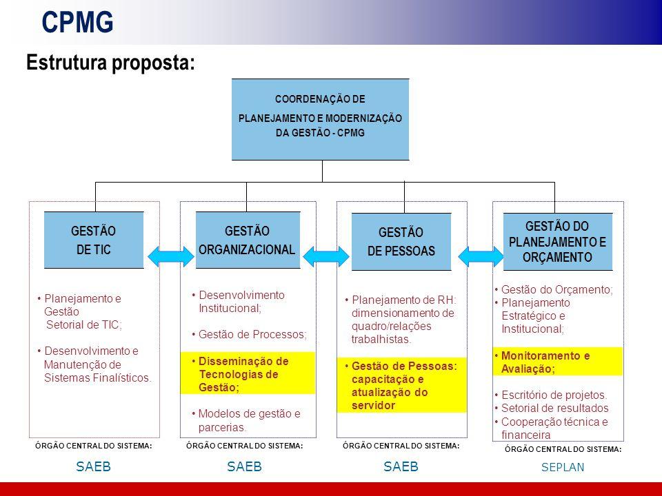 CPMG Estrutura proposta: GESTÃO DE TIC GESTÃO ORGANIZACIONAL GESTÃO