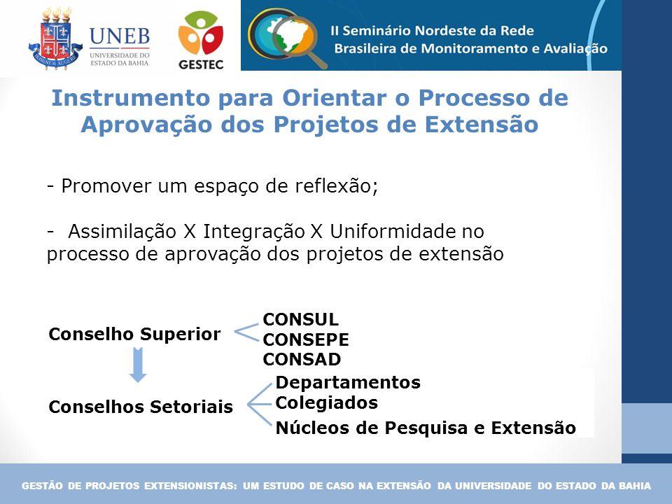 Instrumento para Orientar o Processo de Aprovação dos Projetos de Extensão