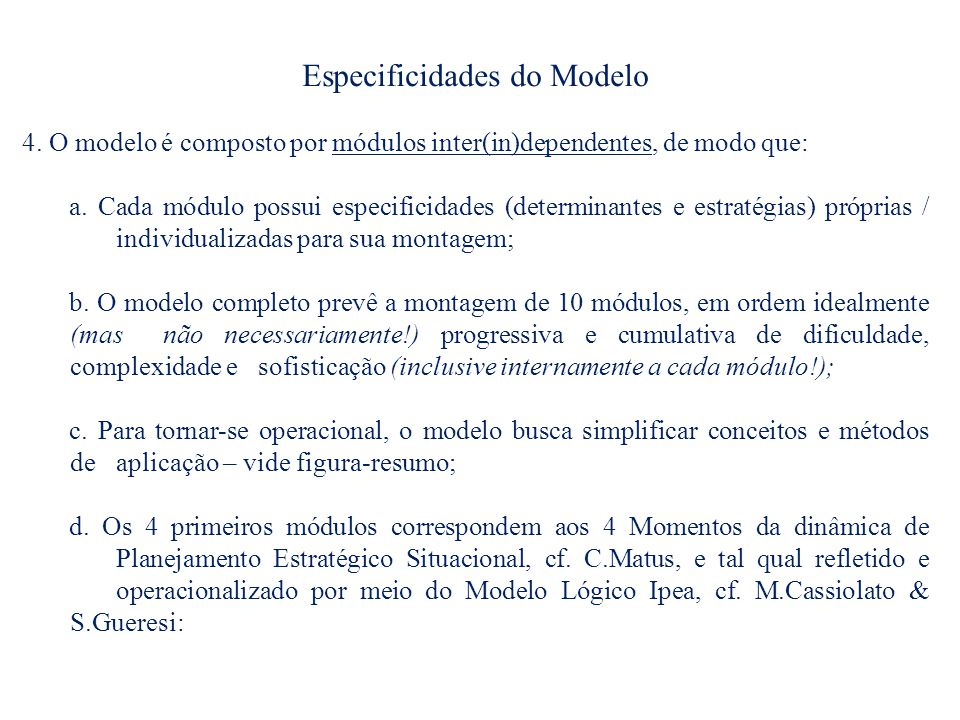 Especificidades do Modelo