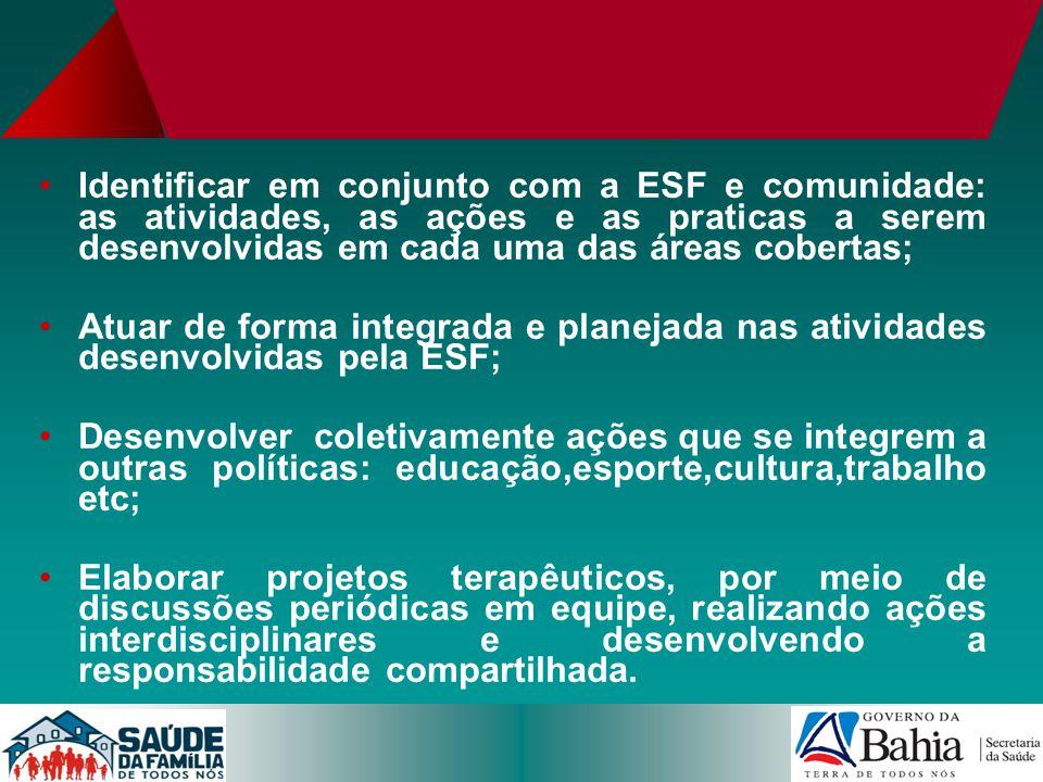 Identificar em conjunto com a ESF e comunidade: as atividades, as ações e as praticas a serem desenvolvidas em cada uma das áreas cobertas;