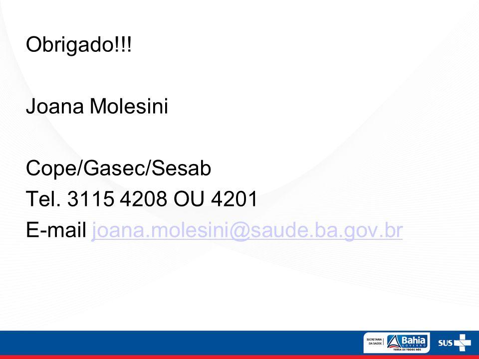Obrigado. Joana Molesini Cope/Gasec/Sesab Tel