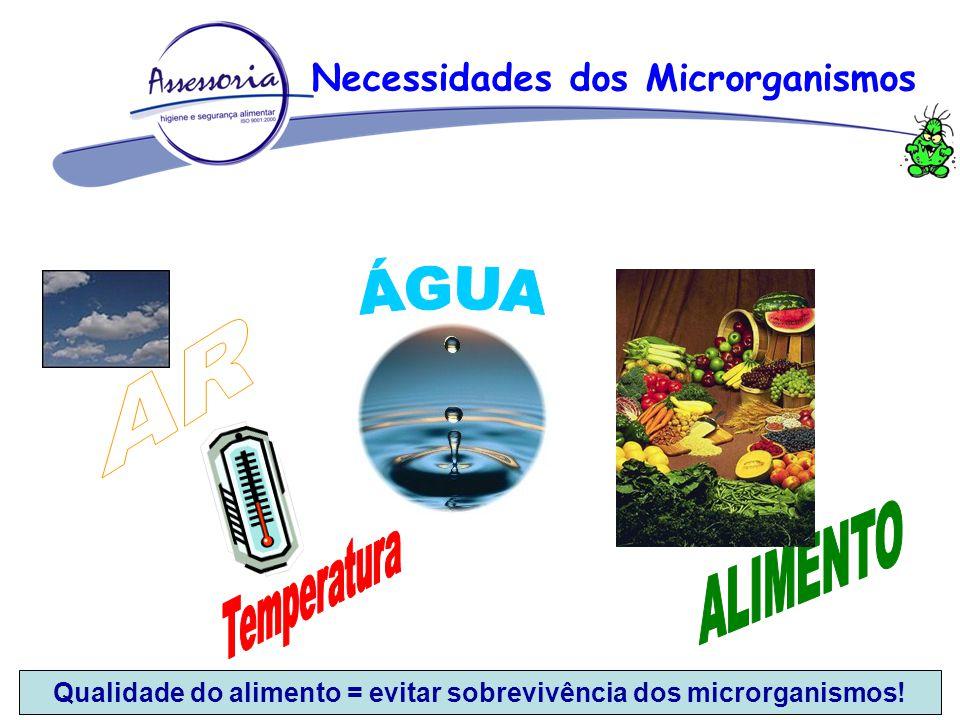 ÁGUA AR ALIMENTO Temperatura Necessidades dos Microrganismos