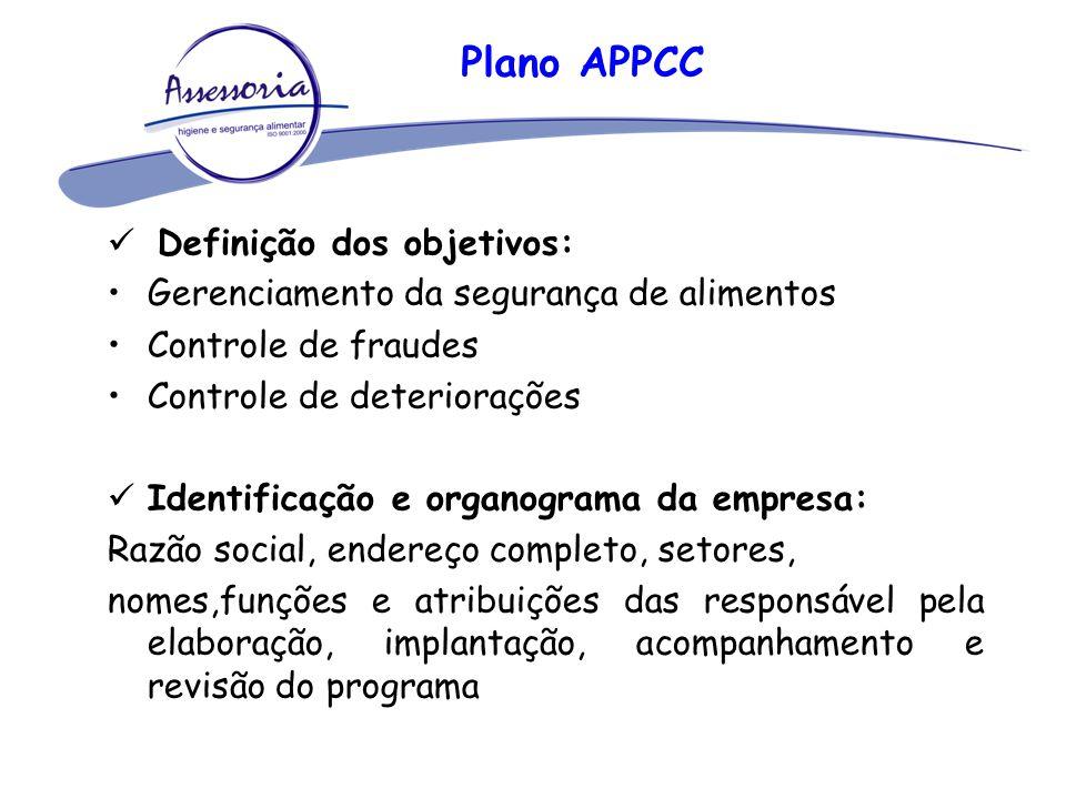 Plano APPCC Definição dos objetivos: