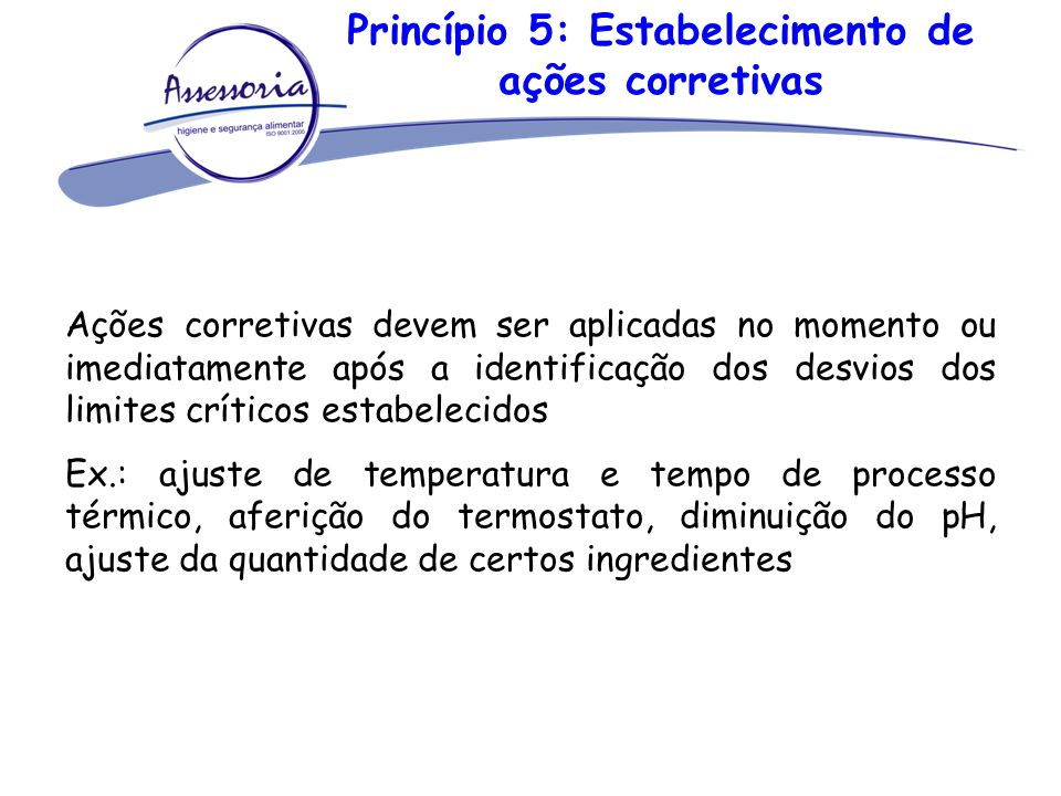 Princípio 5: Estabelecimento de ações corretivas