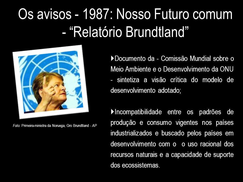 Os avisos - 1987: Nosso Futuro comum - Relatório Brundtland
