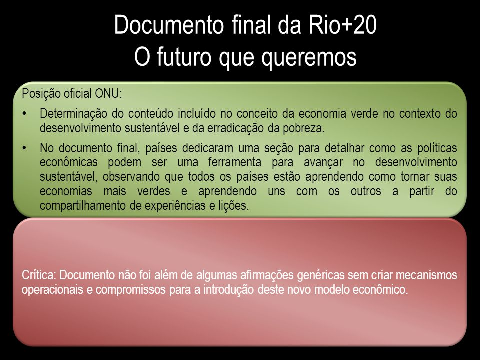 Documento final da Rio+20 O futuro que queremos