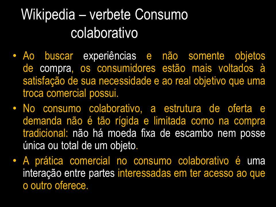 Wikipedia – verbete Consumo colaborativo