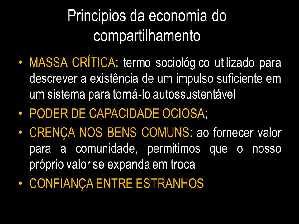 Principios da economia do compartilhamento