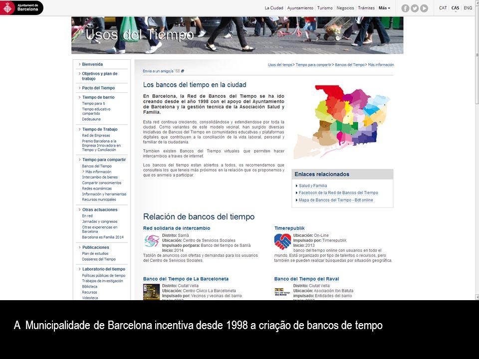 A Municipalidade de Barcelona incentiva desde 1998 a criação de bancos de tempo