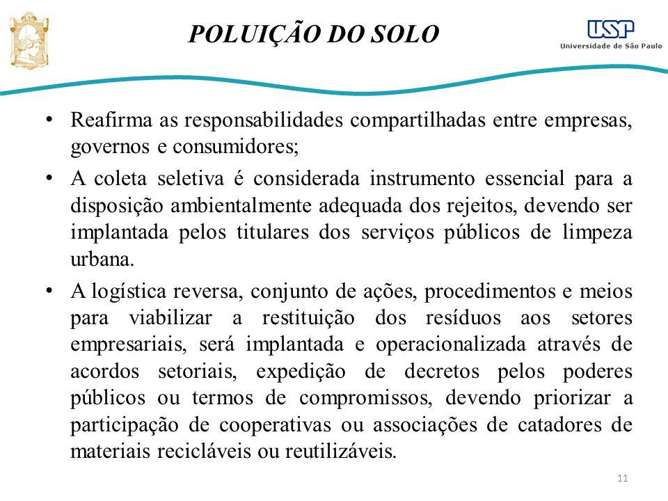 POLUIÇÃO DO SOLO Reafirma as responsabilidades compartilhadas entre empresas, governos e consumidores;