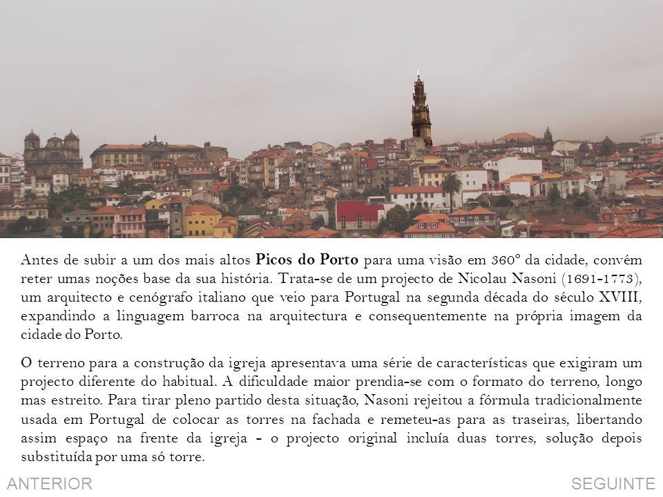 Antes de subir a um dos mais altos Picos do Porto para uma visão em 360º da cidade, convém reter umas noções base da sua história. Trata-se de um projecto de Nicolau Nasoni (1691-1773), um arquitecto e cenógrafo italiano que veio para Portugal na segunda década do século XVIII, expandindo a linguagem barroca na arquitectura e consequentemente na própria imagem da cidade do Porto.