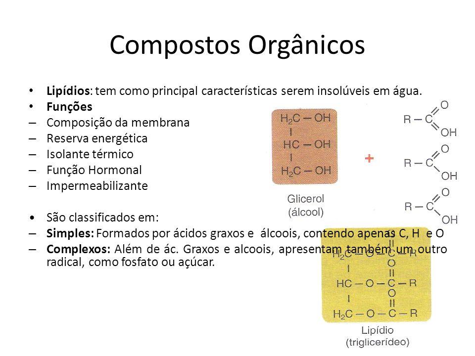 Compostos Orgânicos Lipídios: tem como principal características serem insolúveis em água. Funções.