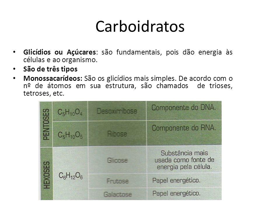Carboidratos Glicídios ou Açúcares: são fundamentais, pois dão energia às células e ao organismo. São de três tipos.