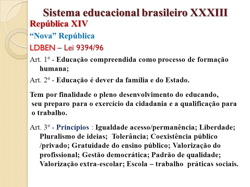 Sistema educacional brasileiro XXXIII