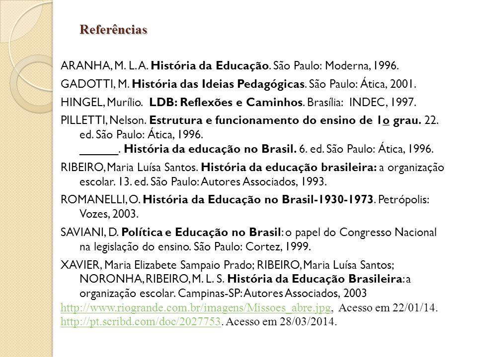 Referências ARANHA, M. L. A. História da Educação. São Paulo: Moderna, 1996. GADOTTI, M. História das Ideias Pedagógicas. São Paulo: Ática, 2001.