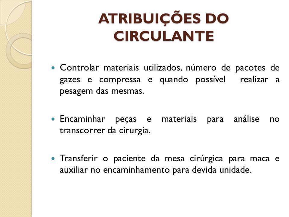 ATRIBUIÇÕES DO CIRCULANTE