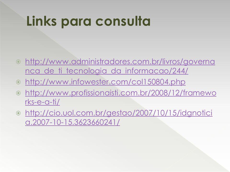Links para consulta http://www.administradores.com.br/livros/governanca_de_ti_tecnologia_da_informacao/244/