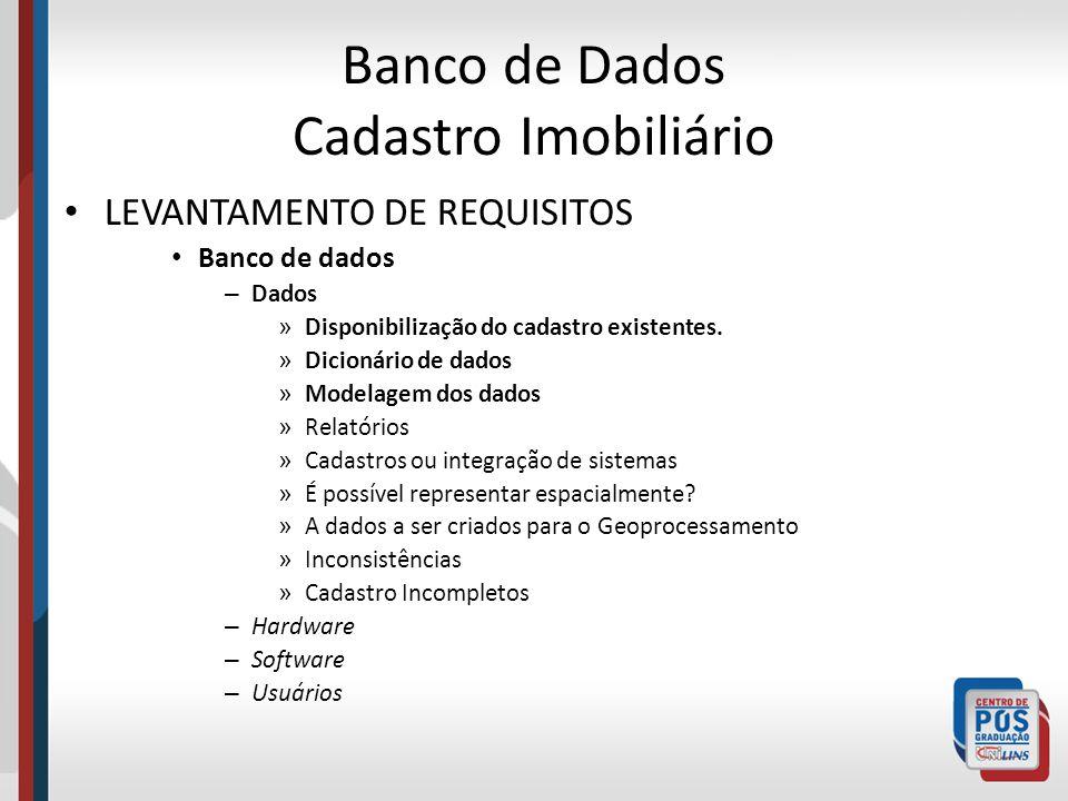 Banco de Dados Cadastro Imobiliário