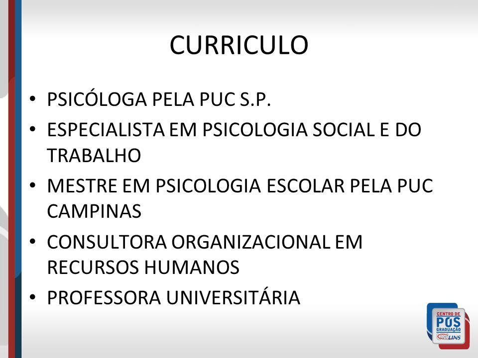 CURRICULO PSICÓLOGA PELA PUC S.P.