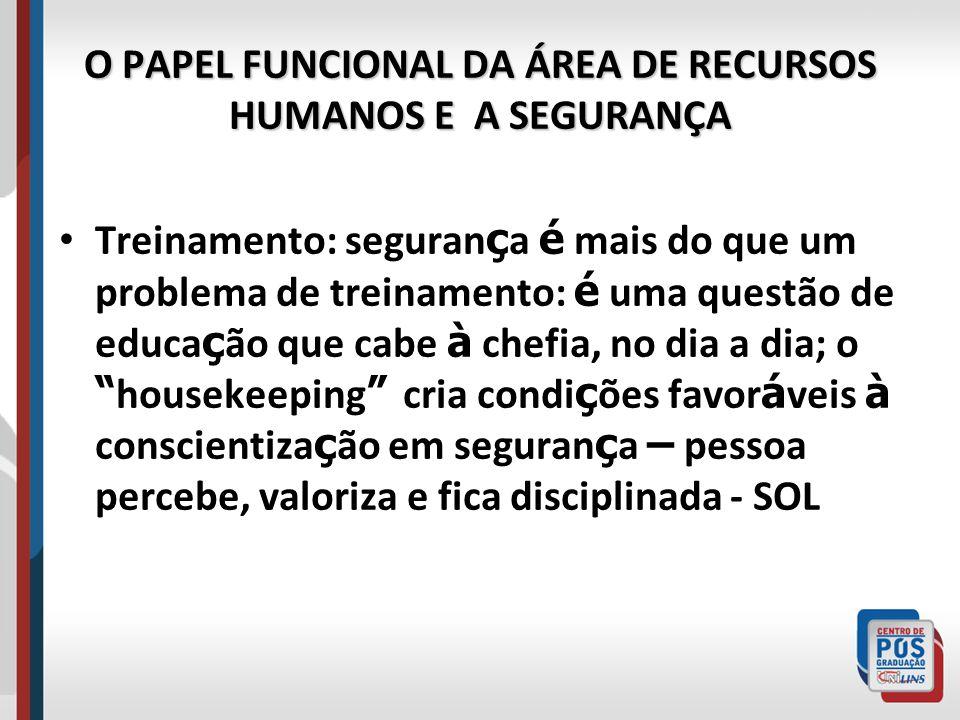 O PAPEL FUNCIONAL DA ÁREA DE RECURSOS HUMANOS E A SEGURANÇA