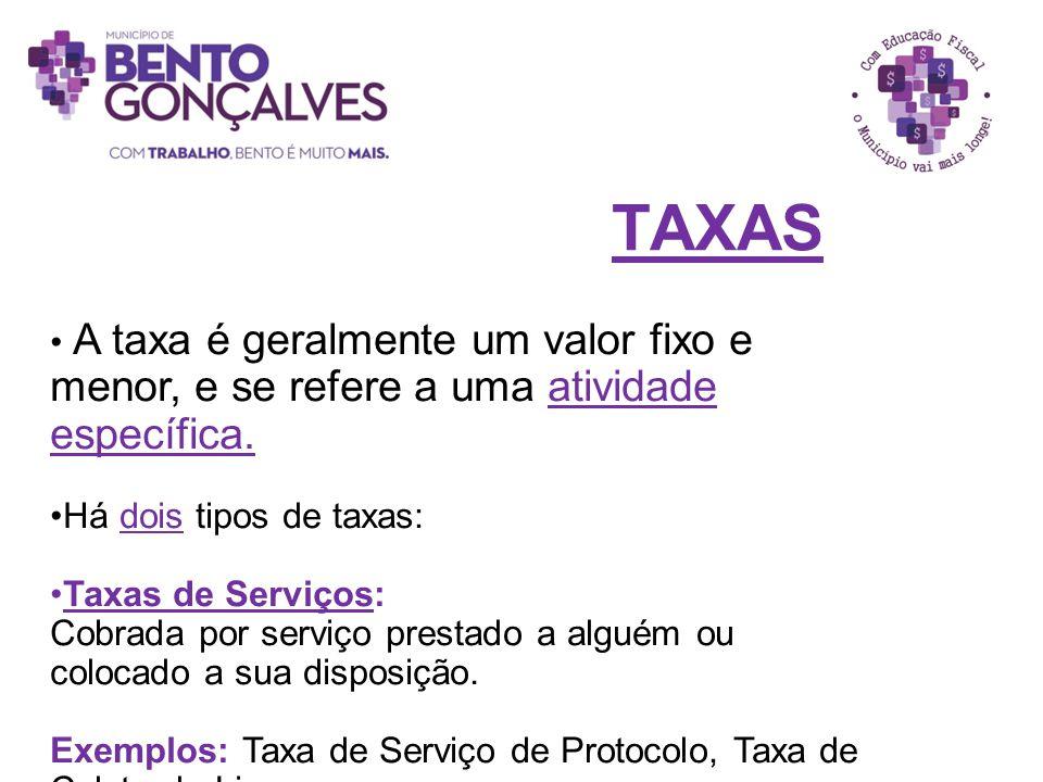 TAXAS A taxa é geralmente um valor fixo e menor, e se refere a uma atividade específica. Há dois tipos de taxas: