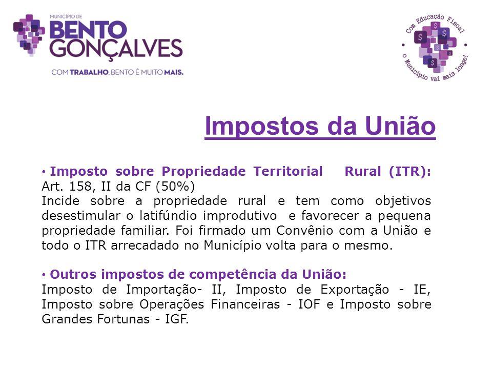 Impostos da União Imposto sobre Propriedade Territorial Rural (ITR): Art. 158, II da CF (50%)
