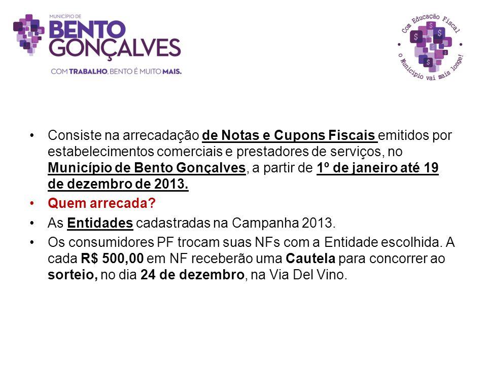 Consiste na arrecadação de Notas e Cupons Fiscais emitidos por estabelecimentos comerciais e prestadores de serviços, no Município de Bento Gonçalves, a partir de 1º de janeiro até 19 de dezembro de 2013.