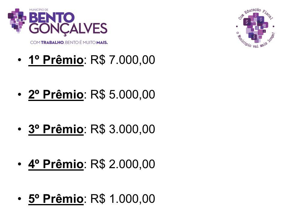 1º Prêmio: R$ 7.000,00 2º Prêmio: R$ 5.000,00. 3º Prêmio: R$ 3.000,00.