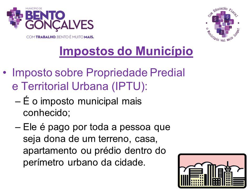 Impostos do Município Imposto sobre Propriedade Predial e Territorial Urbana (IPTU): É o imposto municipal mais conhecido;