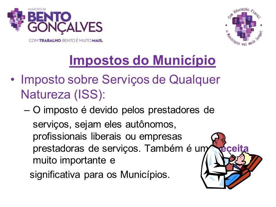 Impostos do Município Imposto sobre Serviços de Qualquer Natureza (ISS): O imposto é devido pelos prestadores de.