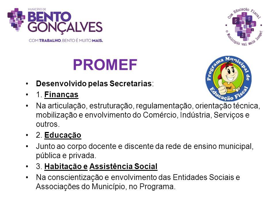 PROMEF Desenvolvido pelas Secretarias: 1. Finanças