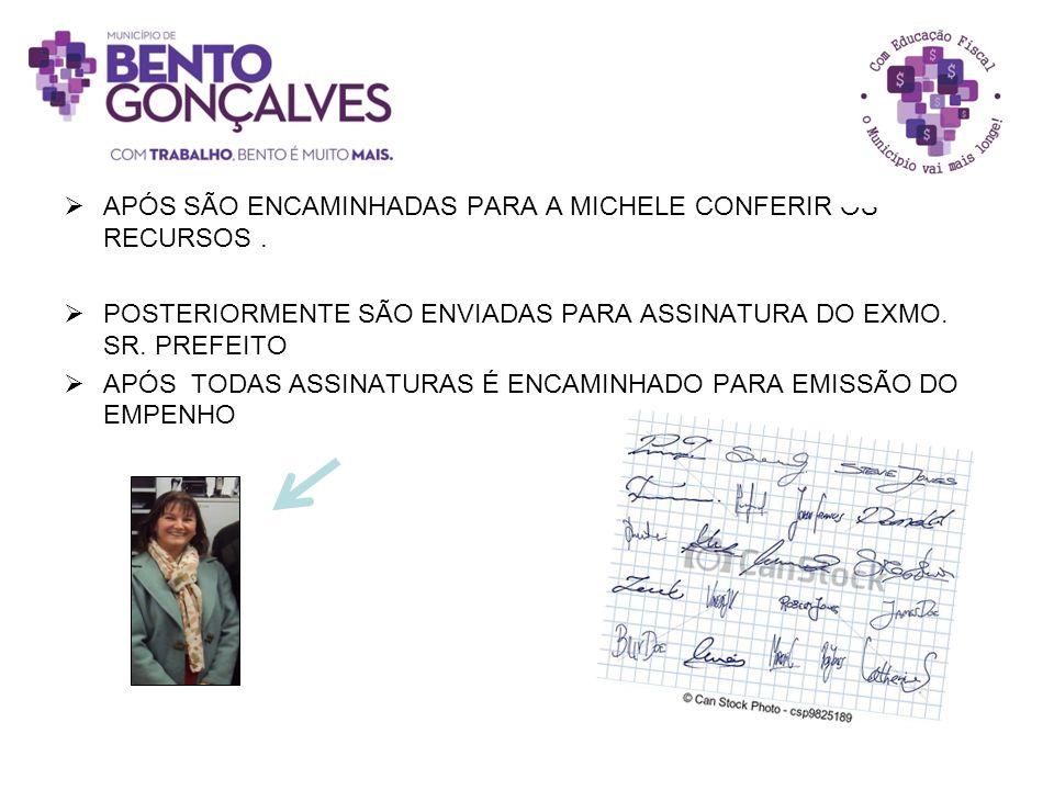 APÓS SÃO ENCAMINHADAS PARA A MICHELE CONFERIR OS RECURSOS .