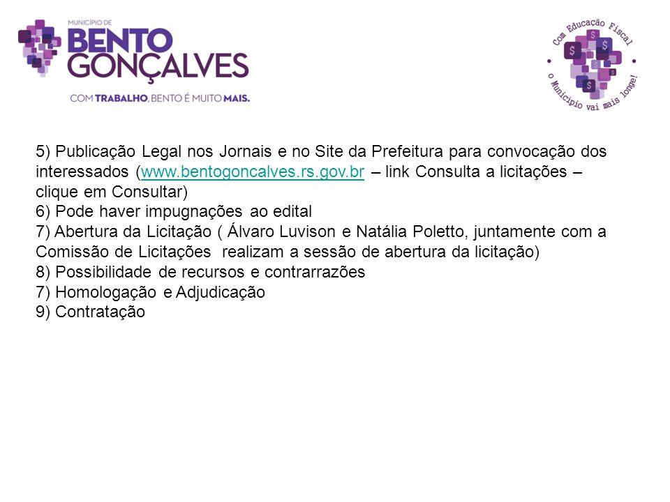 5) Publicação Legal nos Jornais e no Site da Prefeitura para convocação dos interessados (www.bentogoncalves.rs.gov.br – link Consulta a licitações – clique em Consultar)
