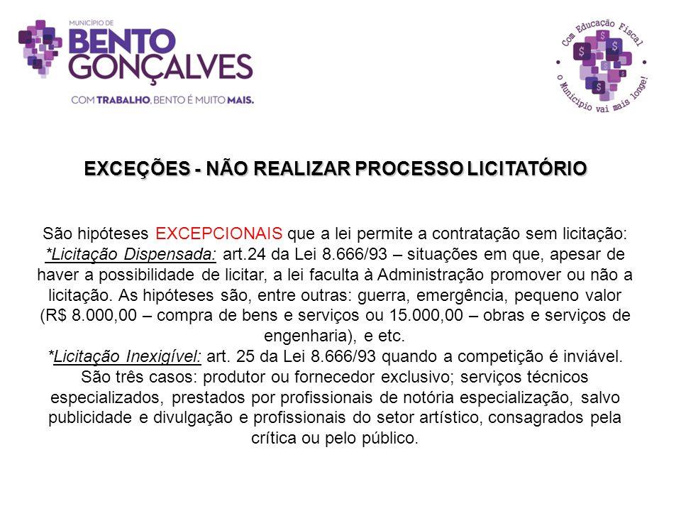 EXCEÇÕES - NÃO REALIZAR PROCESSO LICITATÓRIO