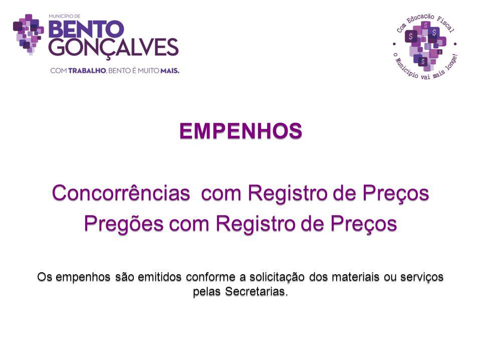 Concorrências com Registro de Preços Pregões com Registro de Preços