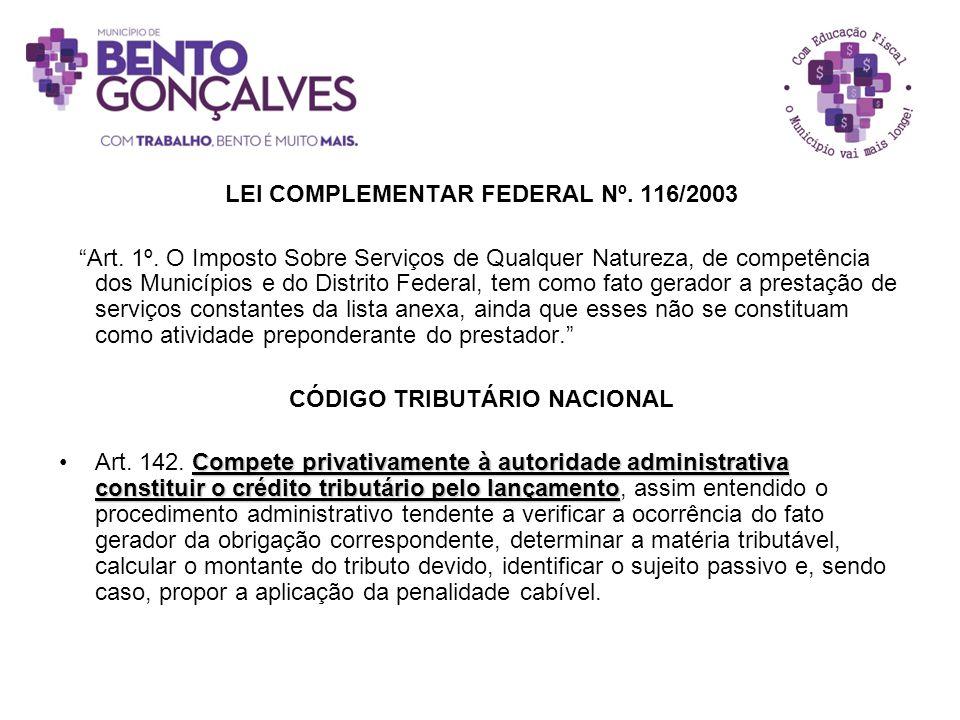 LEI COMPLEMENTAR FEDERAL Nº. 116/2003 CÓDIGO TRIBUTÁRIO NACIONAL