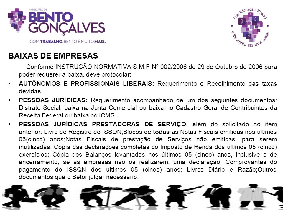 BAIXAS DE EMPRESAS Conforme INSTRUÇÃO NORMATIVA S.M.F Nº 002/2006 de 29 de Outubro de 2006 para poder requerer a baixa, deve protocolar:
